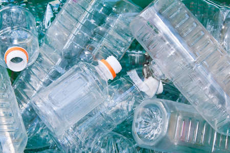 Many empty plastic bottles in trash sorted for recycling Banco de Imagens