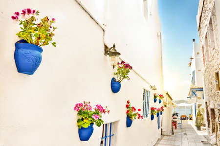A narrow street with whote walls and blue flower pots, the mediterranean sea in the background, Bodrum, Turkey