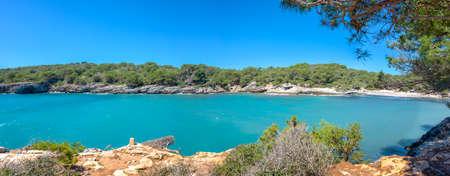 Panorama of Cala Turqueta in Menorca, Balearic islands, Spain Banco de Imagens