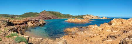 Panorama of Cala Pregonda beach in Menorca, Balearic islands, Spain Banco de Imagens
