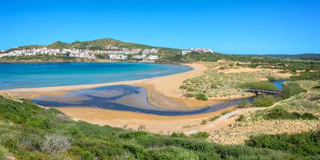 Panorama of Cala Tirant beach in Menorca, Balearic islands, Spain Banco de Imagens