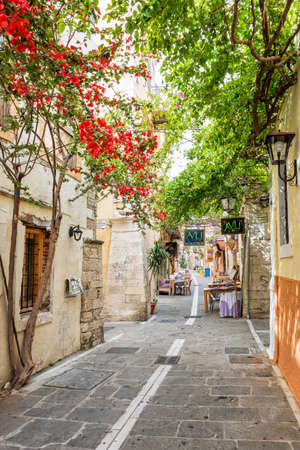 Pedestrian street in the old town of Rethymno in Crete, Greece Editorial