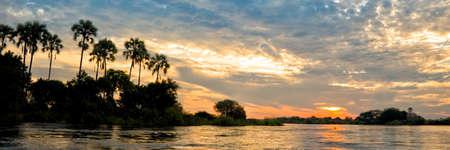 Panorama of the Zambeze river at sunset, Zambia