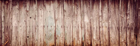 Old wooden planks texture with rusty nails, vintage panoramic background Banco de Imagens
