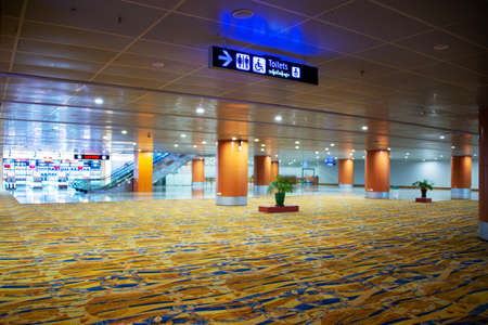 BANGKOK, THAILAND - MARCH 13: Empty deserted terminal in Bangkok airport due to Coronavirus outbreak