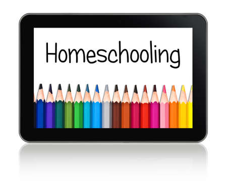 Homeschooling written on a tablet with a colorful lineof pencils