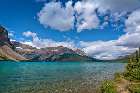 Bow lake on Icefields Parkway in Banff National Park, Alberta, Rocky Mountains, Canada