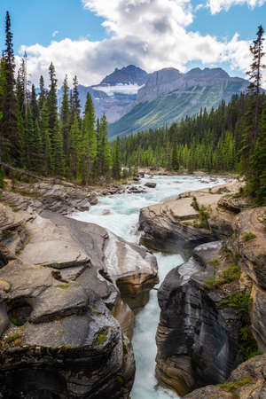 Mistaya canyon and river on Icefields Parkway in Banff National Park, Alberta, Rocky Mountains, Canada