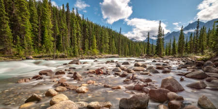 Mistaya river on Icefields Parkway in Banff National Park, Alberta, Rocky Mountains, Canada Stock Photo