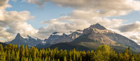 Mount Outram and Survey peak at sunset, view from Icefields Parkway in Banff National Park, Alberta, Rocky Mountains, Canada