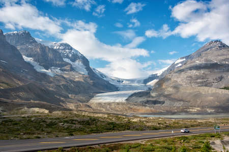 Icefields Parkway and Athabasca glacier in Jasper National park,  Rocky Mountains, Alberta, Canada  Stock Photo