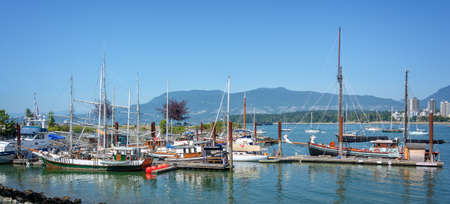 Old wooden boats in Vancouver heritage harbour, British Columbia, Canada