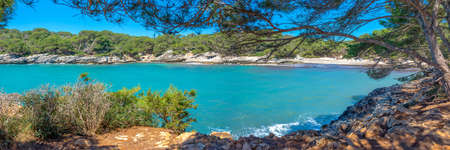 Panorama of Cala Turqueta in Menorca, Balearic islands, Spain Stock Photo