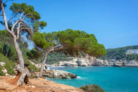 Cala Mitjana and Cala Mitjaneta in Menorca, Balearic islands, Spain Stock Photo