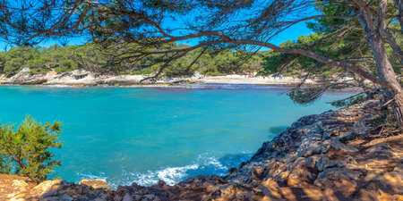 View of Cala Turqueta beach in Menorca, Balearic islands, Spain Stock Photo