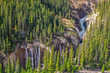 Waterfalls in Sunwapta Valley, view from Glacier Skywalk in Jasper National Park, Rocky Mountains, Alberta, Canada Stock Photo