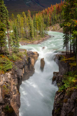 Sunwapta falls in Jasper National Park, Rocky Mountains, Alberta, Canada Stock Photo