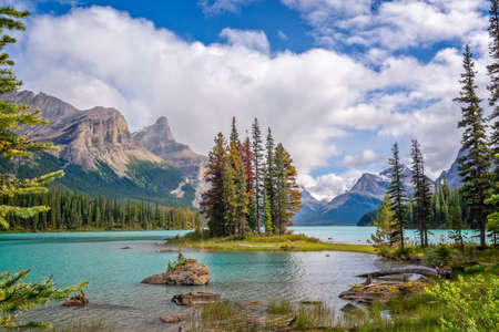 Spirit island in Maligne lake, Jasper National Park, Alberta, Rocky Mountains, Canada
