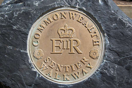Commonwealth walkway commemorative plaque in Banff National park, Alberta, Canada