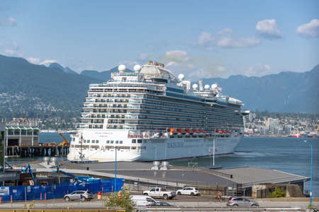 VANCOUVER, CANADA - August 3: Large cruise ship in the port of Vancouver on August 3, 2019 in Vancouver BC