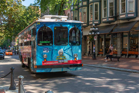 VANCOUVER, CANADA - August 3: A bus in a street of Gastown, the oldest district of the city, on August 3, 2019 in Vancouver BC Editorial