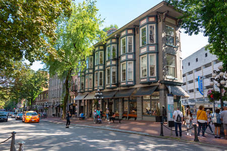 VANCOUVER, CANADA - August 3: Water street of Gastown, the oldest district of the city, on August 3, 2019 in Vancouver BC