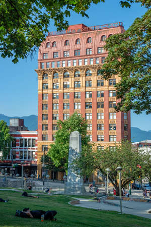 VANCOUVER, CANADA - AUGUST 3: Heritage Dominion building on Victory Square, on August 3, 2019 in downtown Vancouver, Bristish Columbia, Canada Editorial