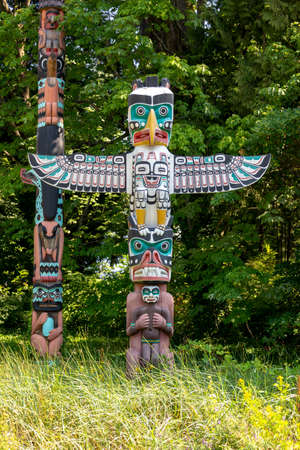 Thunderbird house post, one of the Stanley Park Totem Poles in Vancouver, British Columbia, Canada