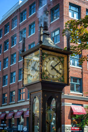 VANCOUVER, CANADA - August 3: Gastown steamclock, a famous antique-style clock  powered by steam, on August 3, 2019 in Vancouver BC