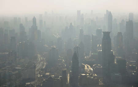 City air pollution. Aerial view of Shanghai from Jinmao tower in China