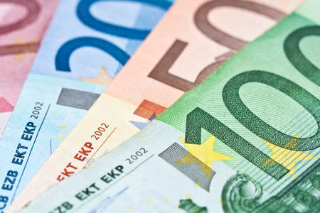 Close up of various euros banknotes, colorful money background, european currency cash concept Stock Photo
