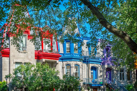 Colorful Victorian houses in Le plateau Mont Royal borough in Montreal, Quebec