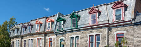 Panorama of colorful Victorian houses in Le plateau Mont Royal borough in Montreal, Quebec Stock Photo