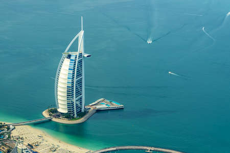 Aerial view of Burj AL Arab hotel in Dubai, United Arab Emirates