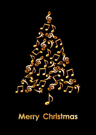 Christmas tree made of golden musical notes on black background. Merry Christmas music greeting card