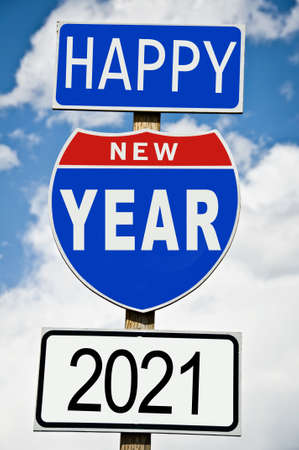 Hapy New Year 2021 written on american roadsign