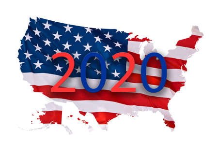 American flag in the shape of a US map isolated on white background, 2020 presidential election concept