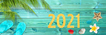 2021 on tropical vacation panoramic background with palm tree and seashells, new year greeting card Stock Photo