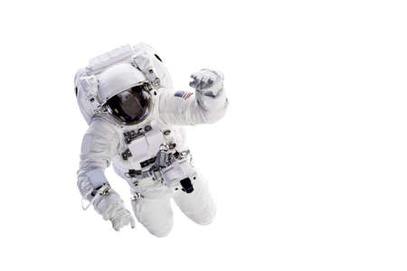 Astronaut with a jetpack isolated on white background with copy space