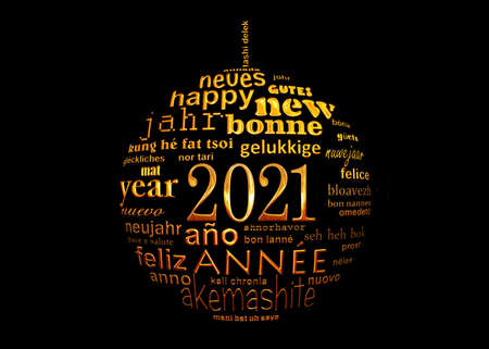 2021 new year black and gold multilingual text word cloud greeting card in the shape of a christmas ball