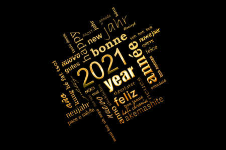 2021 new year multilingual golden text word cloud greeting card on black background