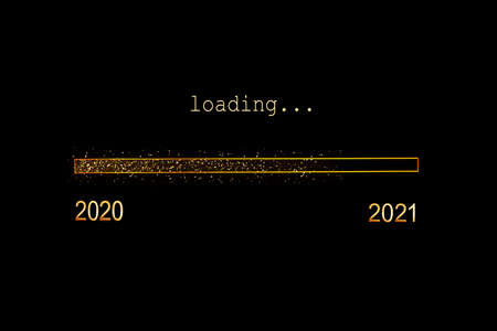 2021 loading, gold glitter progress bar on black background, new year holiday greeting card Banque d'images