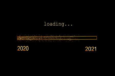 2021 loading, gold glitter progress bar on black background, new year holiday greeting card