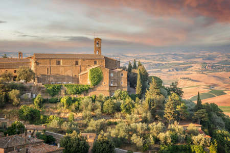 View of Montalcino, countryside landscape in the background, Tuscany, Italy Banco de Imagens