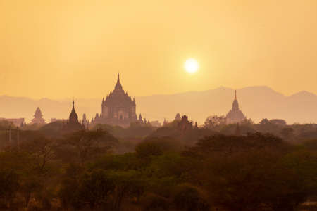 Landscape of temples silhouettes in Bagan at sunset, Burma, Myanmar Stock Photo