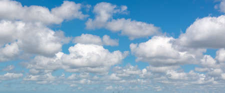 Panoramic background of blue sky with clouds Stock Photo