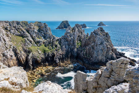 The atlantic ocean at the Pointe de Pen-Hir, a cape on Crozon peninsula in Finistère, Brittany, France Stock Photo