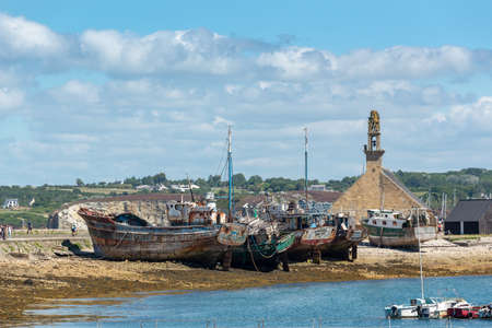 Boat cemetery in the port of Camaret in Crozon peninsula, Finistere, Brittany France Stock Photo