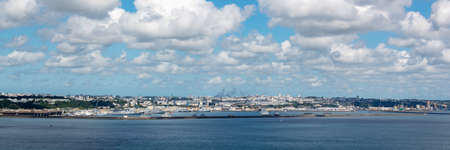 Panorama of the bay and the port of Brest, in Finistère, Brittany, France Stock Photo