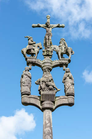 Calvary of Sainte Marie du Ménez-Hom at Plomodiern in Finistère, Brittany France Stock Photo